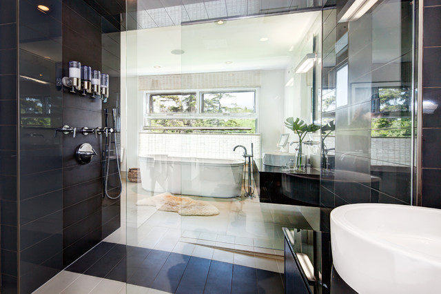 Hands Free Soap Dispenser Bathroom Contemporary with Dark Tile Dispensers Floating Vanity Free Standing Freestanding Tub
