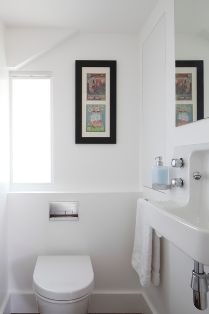 Hands Free Soap Dispenser Powder Room Contemporary with Architecture Bathroom Window Cloakroom Contemporary Downstairs Toilet Loft London