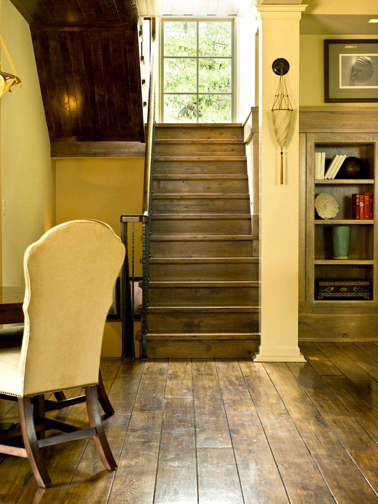 Handscraped Laminate Flooring Staircase Traditional with Basement Bookcase Dark Floors Plank Flooring Staircase