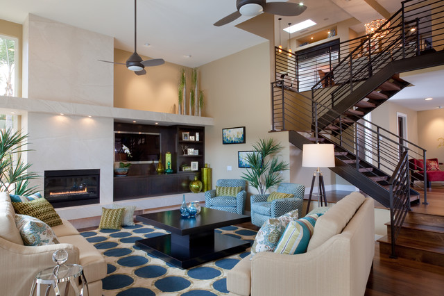 Handyman San Diego Living Room Contemporary with Area Rug Ceiling Fan Decorative Pillows High Ceilings House