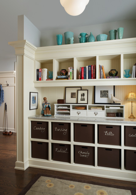 Hanging File Organizer Home Office Traditional with Area Rug Baskets Bins Blue Vases Built in Storage