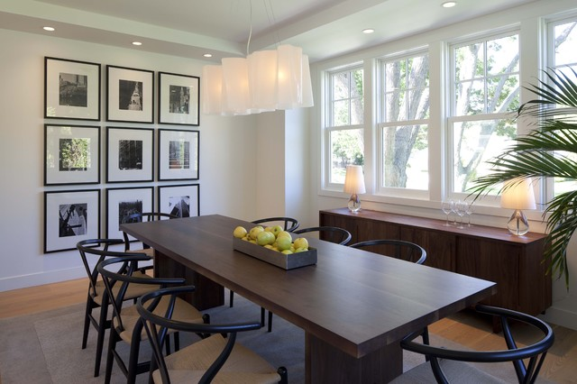 Hans Wegner Chair Dining Room Transitional with Area Rug Banquet Table Black and White Photography Credenza