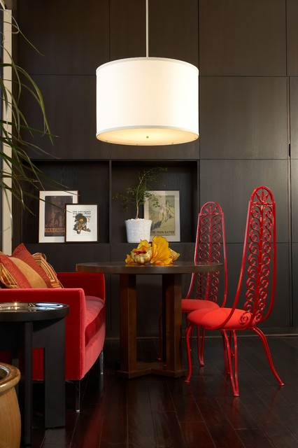 Hans Wegner Chair Family Room Industrial with Built in Storage Cabinetry Chihuly Colorful Dark Floor Drum