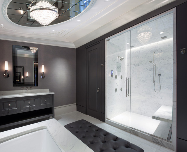 hansgrohe shower system Bathroom Contemporary with beveled mirror CEILING LIGHT custom cabinet floating bench frame