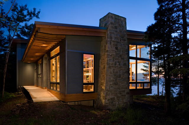 Harbor House Bedding Exterior Modern with Cabin Ocean View Overhang Rafters Siding Stacked Stone Chimney