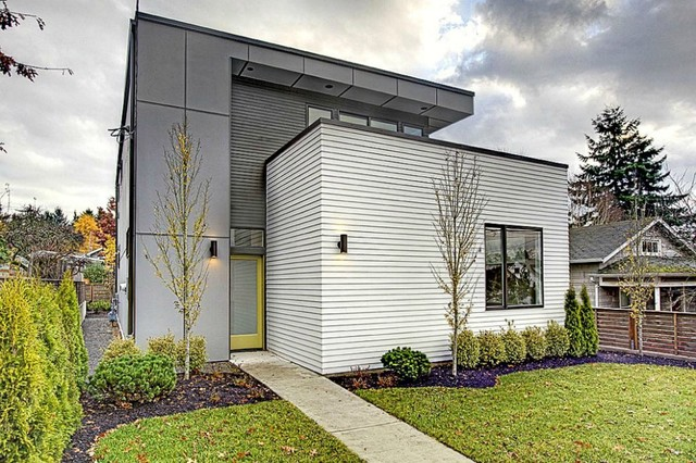 Hardi Plank Siding Exterior Contemporary with Cement Panels Concrete Path Cubist Entry Flat Roof Front