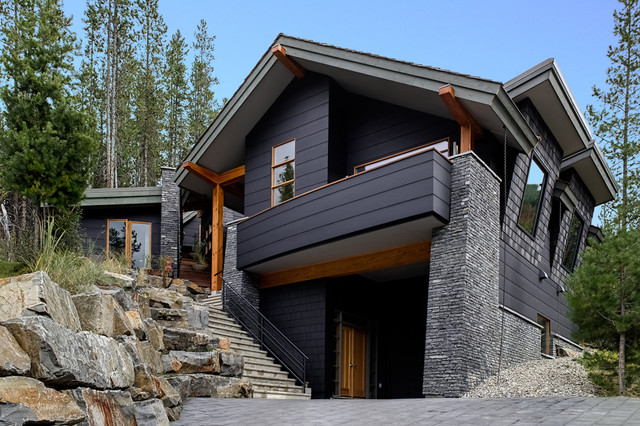 Hardie Board Siding Exterior Contemporary with Balcony Black Cladding Black House Boulders Concrete Contemporary House