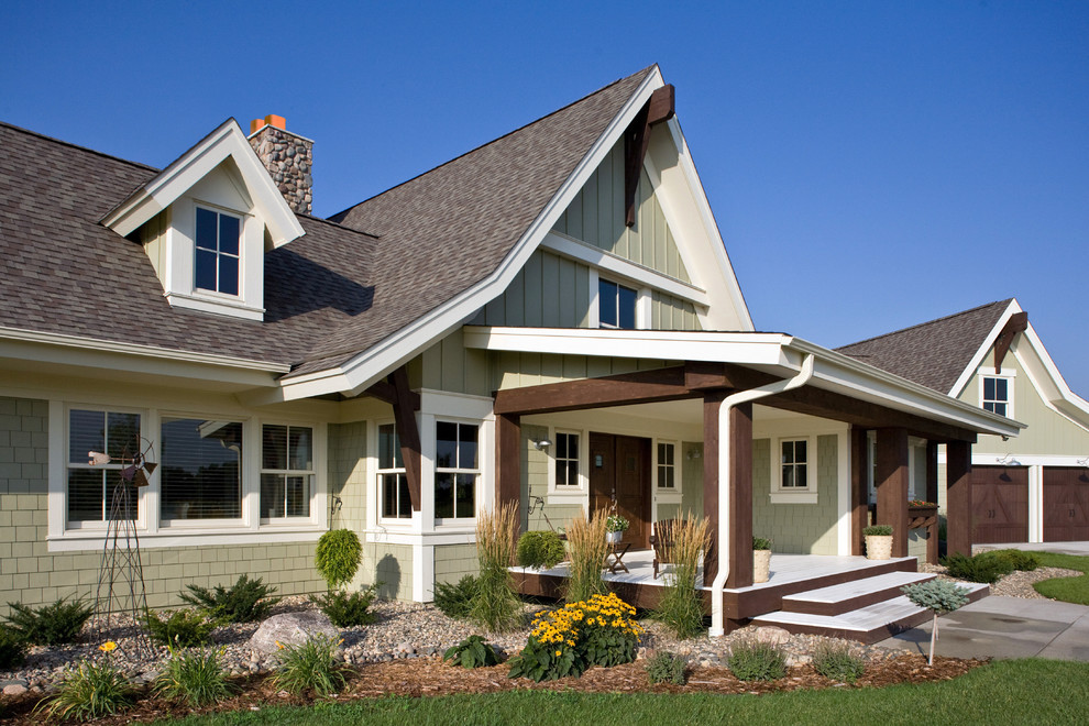 Hardie Shingles Exterior Farmhouse with Board and Batten Detached Garage Dormer Windows