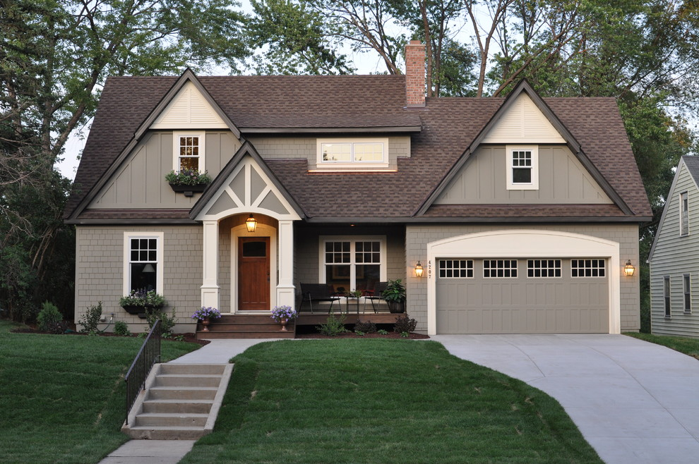 Hardie Shingles Exterior Traditional with Board and Batten Driveway Entrance Entry Front2
