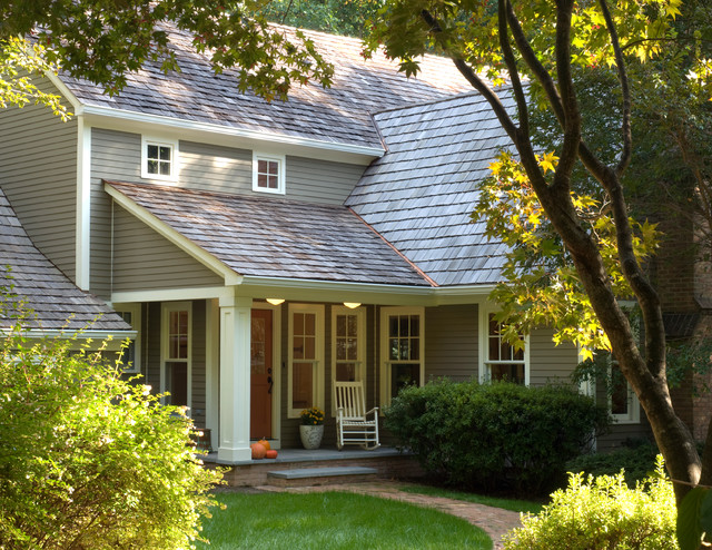 Hardie Siding Exterior Traditional with Brick Entry Exterior Front Porch Horizontal Siding Planting Porch
