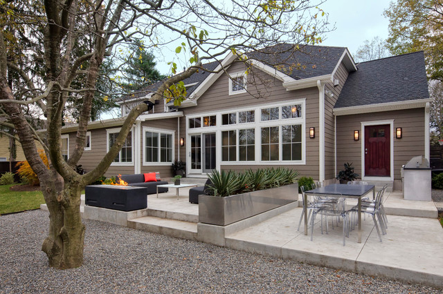 Hardie Siding Patio Contemporary with Black Clear Acrylic Chairs Gravel Concrete Terrace Gray Lap
