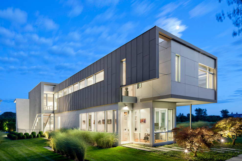 Hardiplank Exterior Contemporary with Cement Tiles Glass House Glass Panel Light