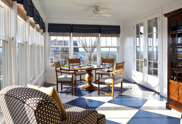hardwood floor steam cleaner Sunroom Traditional with armchair armoire beadboard ceiling blue checkerboard floor dark stained