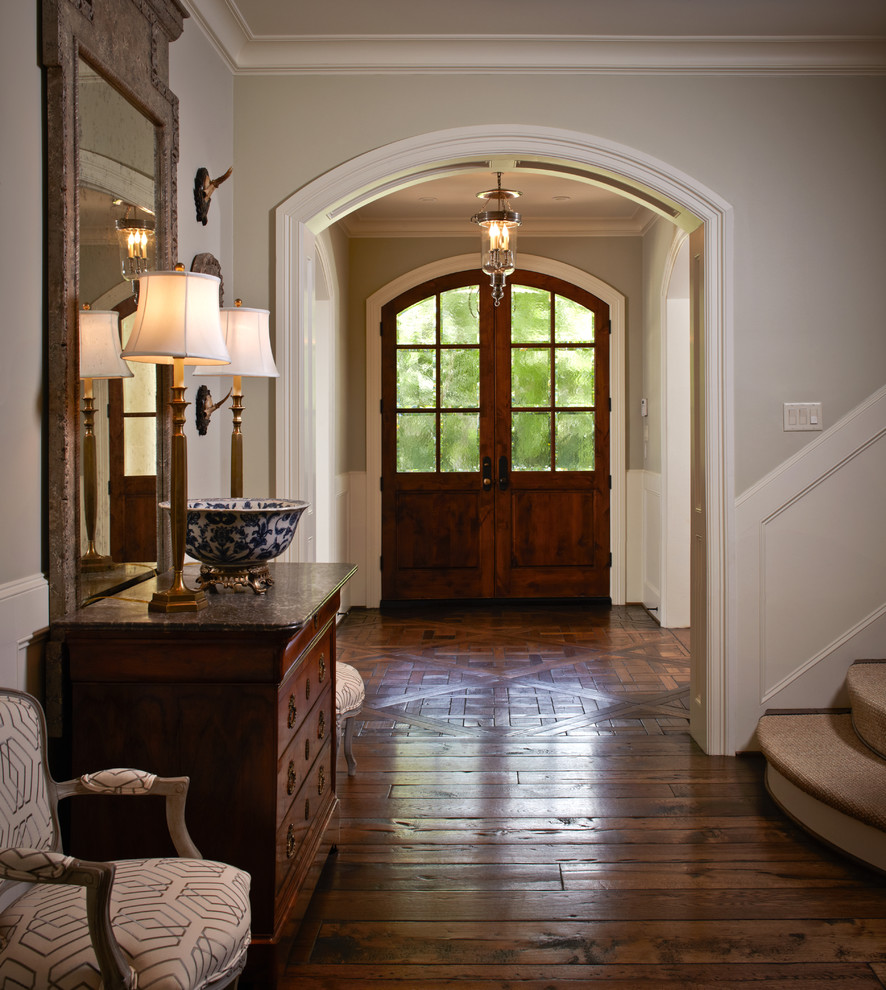 Hardwood Flooring Houston Entry Traditional with Arched Door Blue Willow Bowl Bowed Lampshades