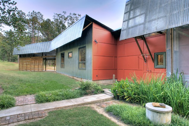 Hardy Board Siding Exterior Industrial with Corrugated Roof Entrance Entry Geometric Geometry Grass Green Wall