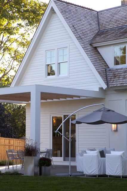 Hardy Siding Patio Contemporary with Container Plants Covered Patio Decorative Pillows Grass Lawn Neutral