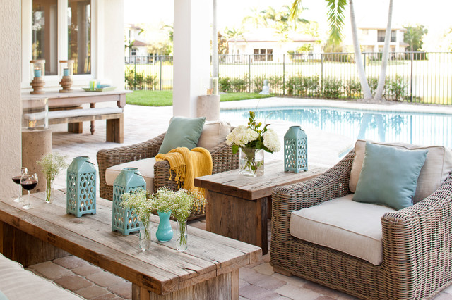 Havertys Furniture Store Patio Transitional With Aqua Coffee Table  Gate Light Blue Neutral Pavers Pool