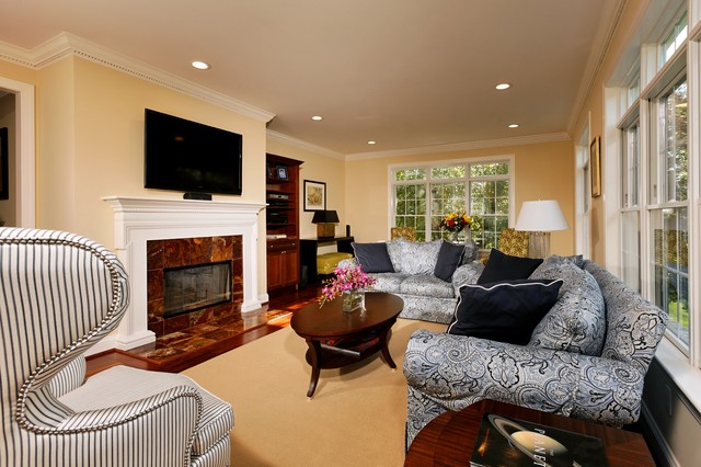 Havertys Sofa Family Room Traditional with Ceiling Lighting Crown Molding Fireplace Surround Paisley Sofa Recessed