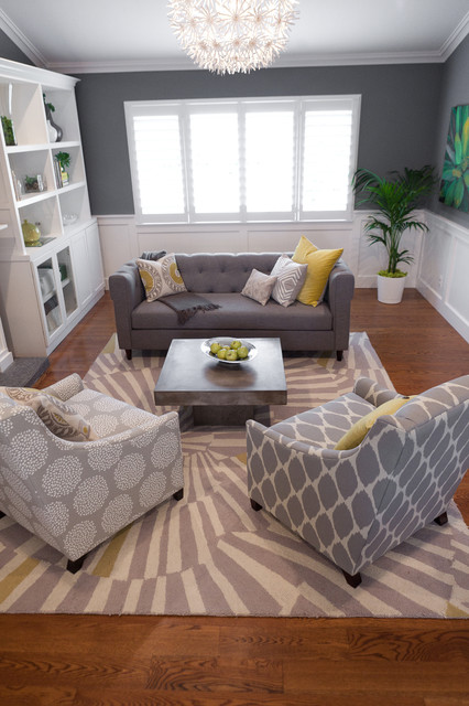 Havertys Sofa Living Room Traditional with Area Rug Built in Shelves Dark Walls Grey Walls