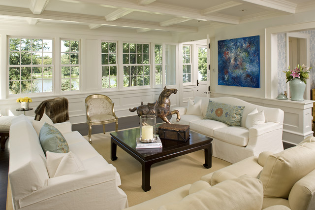 Havertys Sofa Living Room Traditional with Black Coffee Table Coffered Ceiling Fur Horse Molding Occasional