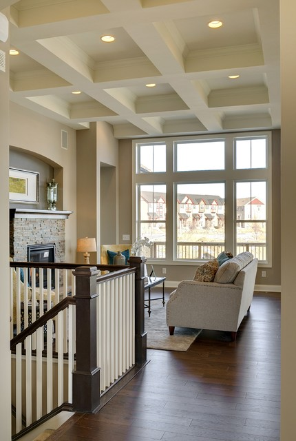 Hayfield Windows Living Room with Blue Pillows Box Cut Out Ceiling Ceiling Design Crown
