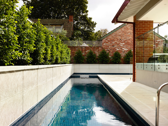 Hayward Pool Pumps Pool Contemporary with Blue Brick Eaves Glass Panel Railing Hedge Lap Lap