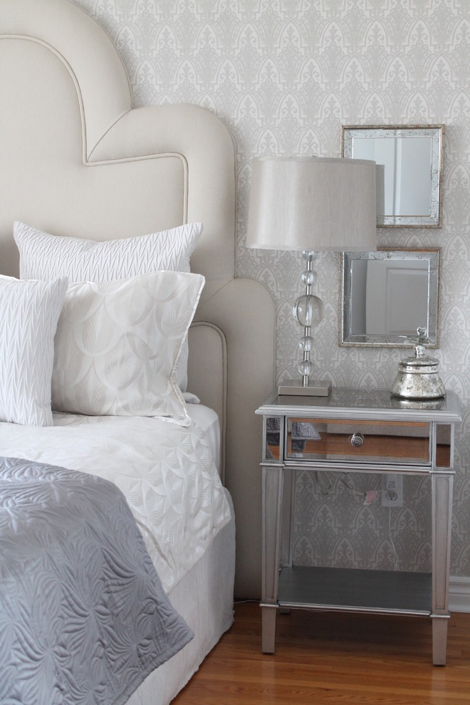 Hayworth Collection Bedroom Transitional with Art Deco Headboard Light Blue Bedroom Mirrored