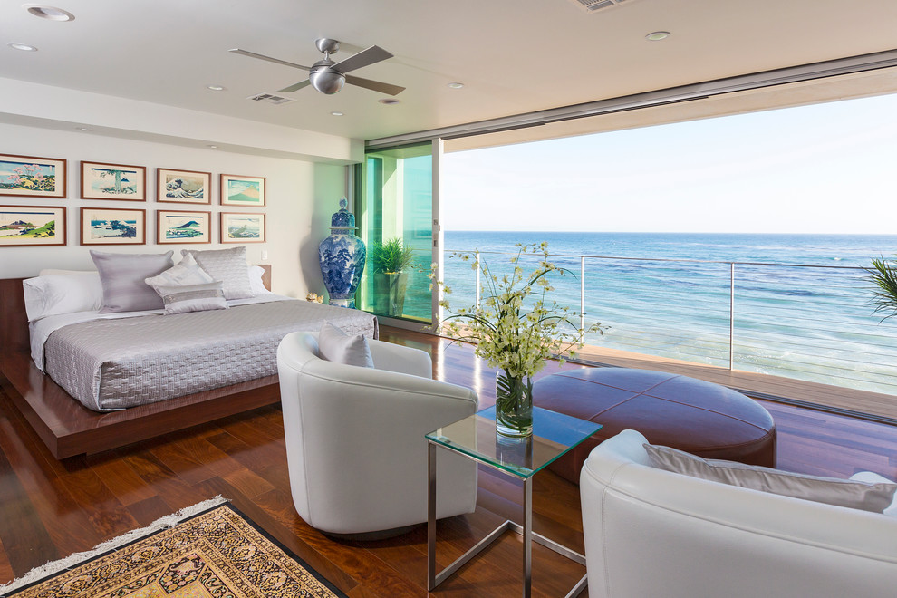 Heady Bed Bedroom Contemporary with Accent Chairs Area Rugs Balcony Beach Home