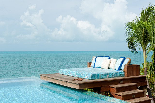 Heavenly Bed Mattress Patio Tropical with Chaise Fringe Infinty Edge Pool Ocean View Outdoor Bed