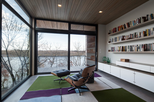 Herman Miller Aeron Chair Home Office Contemporary with Aluminum Windows Eames Chair Floating Shelves Polished Concrete Floor