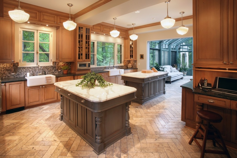dark tile floor kitchen. definitely want to do this tile in the
