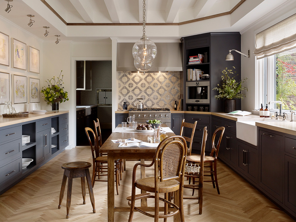 Herringbone Wood Floor Kitchen Transitional With Accent Lighting
