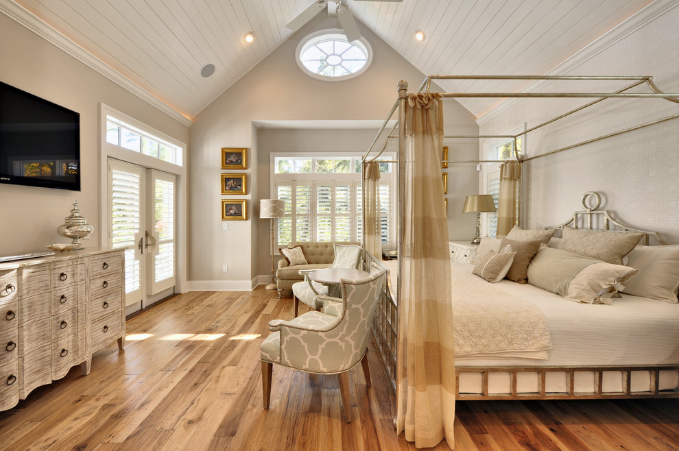Hickory Hardwood Flooring Bedroom Beach with Alcove Arm Chairs Beige Blinds Canopy Bed