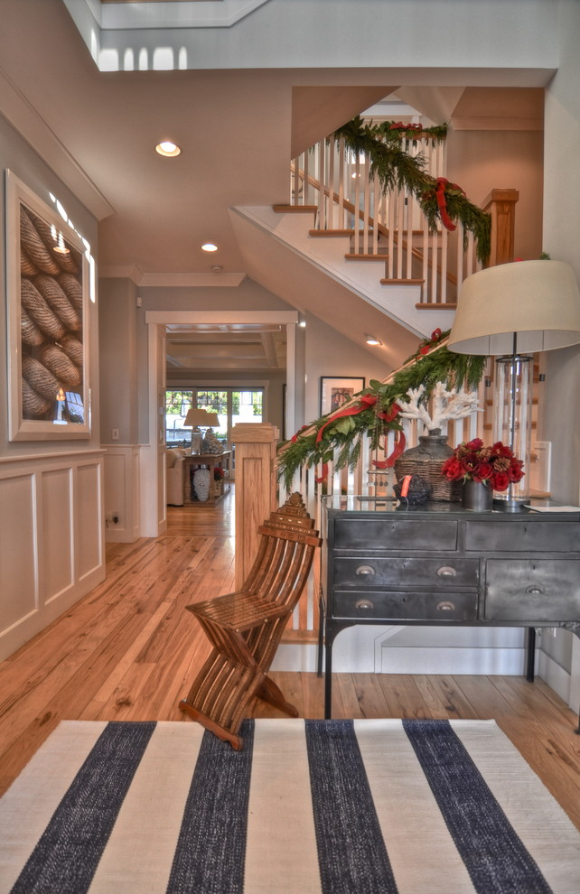 Hickory Hardwood Flooring Entry Craftsman with Christmas Decorations Craftsman Crown Molding Entry Console
