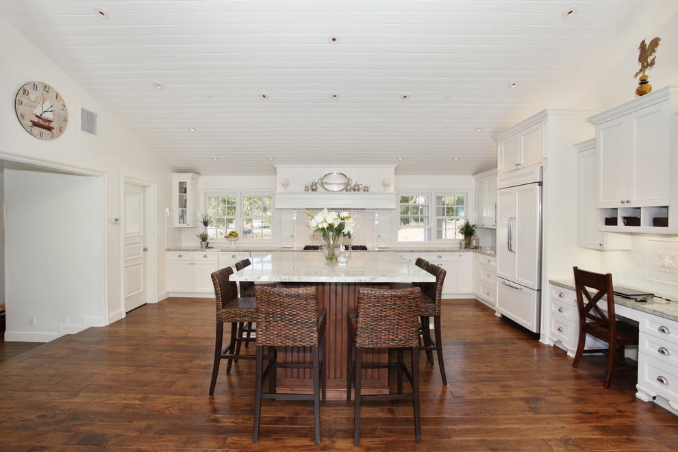 Hickory Hardwood Flooring Kitchen Traditional with Dark Stained Wood Desk Area Integrated Kitchen