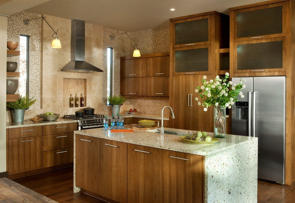 Hickory Kitchen Cabinets Kitchen Transitional with Cabinets Contemporary Counters Floating Shelves Green Hickory