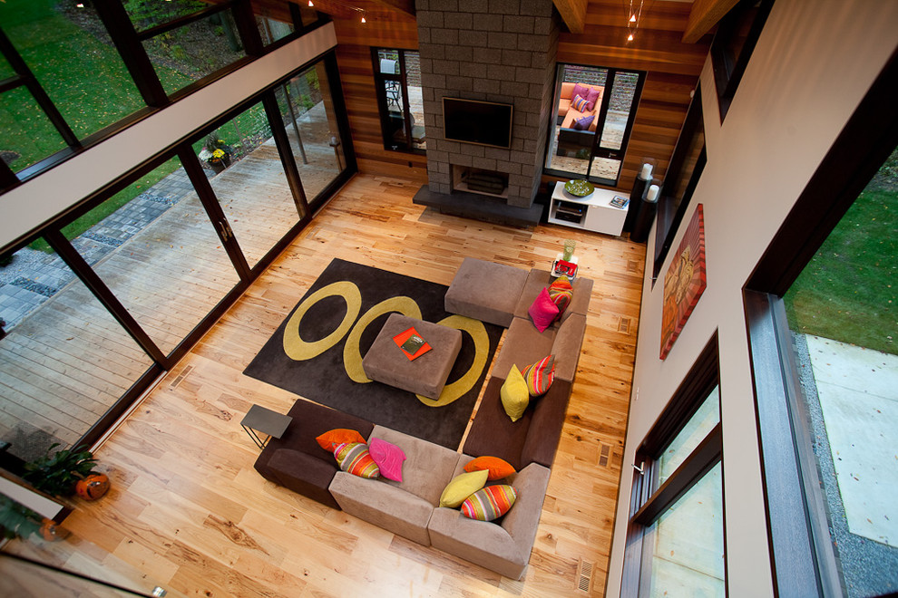 Hickory Wood Floors Living Room Contemporary with Fireplace Grey Sofa High Ceiling Large Window