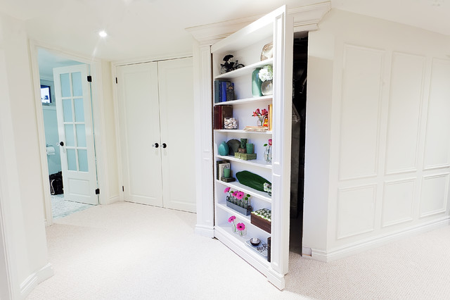 Hidden Door Bookcase Hall Traditional With Bookcase Carpet Closet Custom  Cabinets French Doors Furnace Room