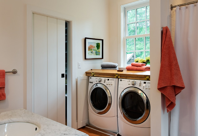 Hidden Door Hinges Bathroom Traditional with Country Home Covered Washer Dryer Farmhouse Front Loading Washer And