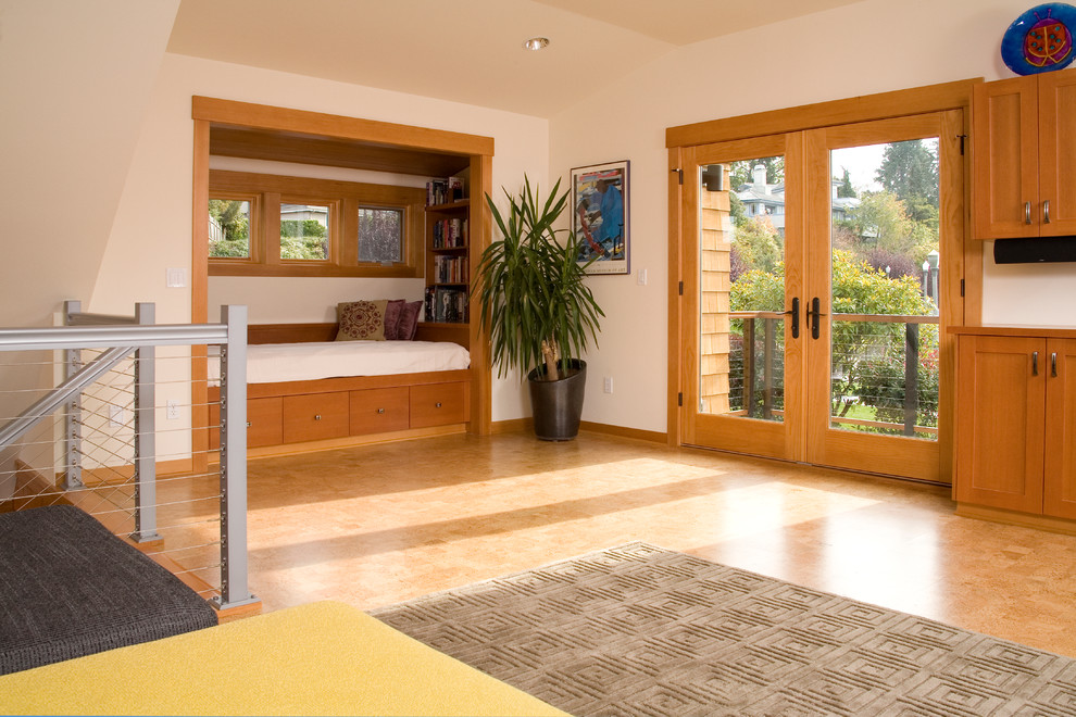 Hideabed Family Room Contemporary with Built in Shelves Cable Rail Cork Floor French