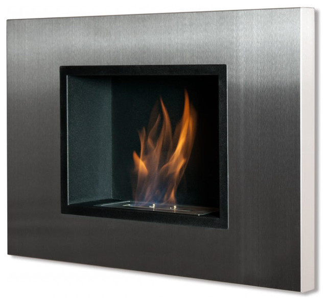 High Efficiency Wood Burning Fireplace with Bio Ethanol Fireplace No Chimney Fireplace Recessed Fireplace Silver