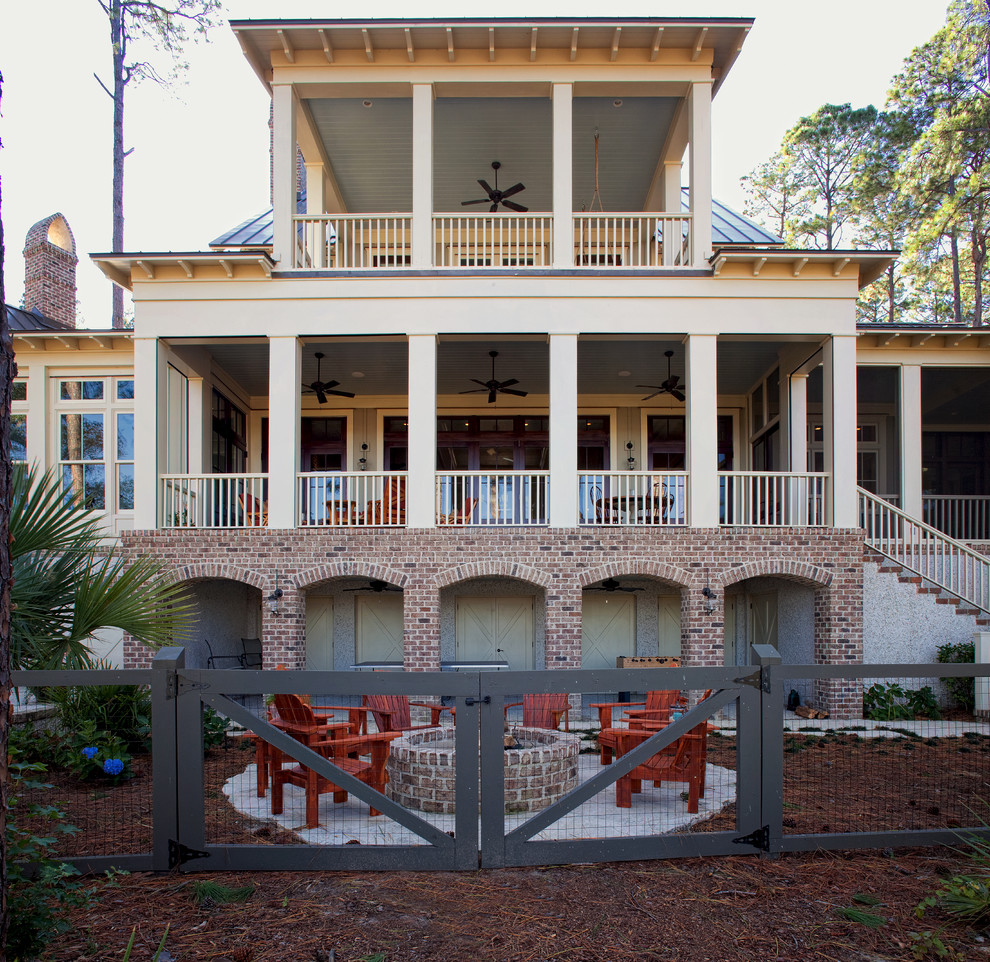Hog Panel Fence Exterior Beach with Adirondack Chair Arch Archway Atkins Beaufort Beige