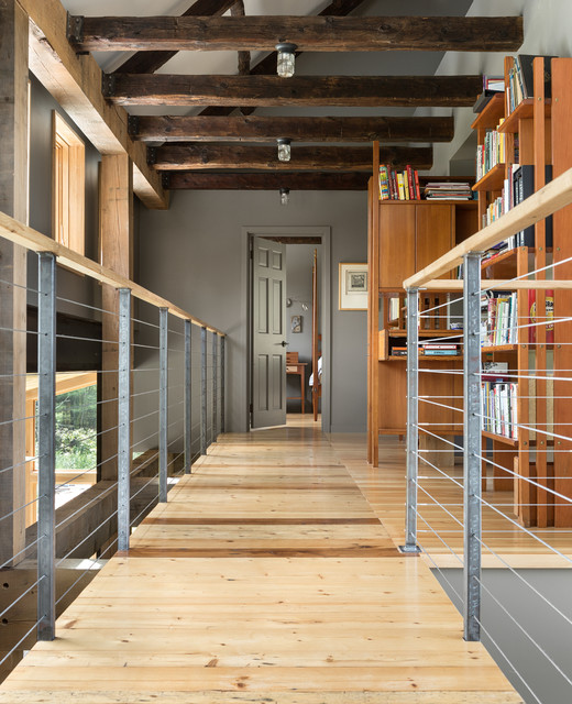 home depot pegboard Hall Transitional with barn concrete exposed beams glass metal modern open shelving