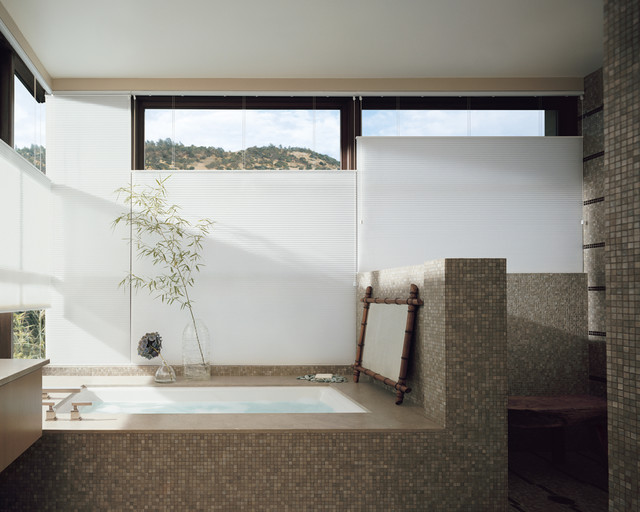 Home Depot Window Coverings Bathroom Asian with Bath Built in Tub Large Window Mosaic Panorama View Spa