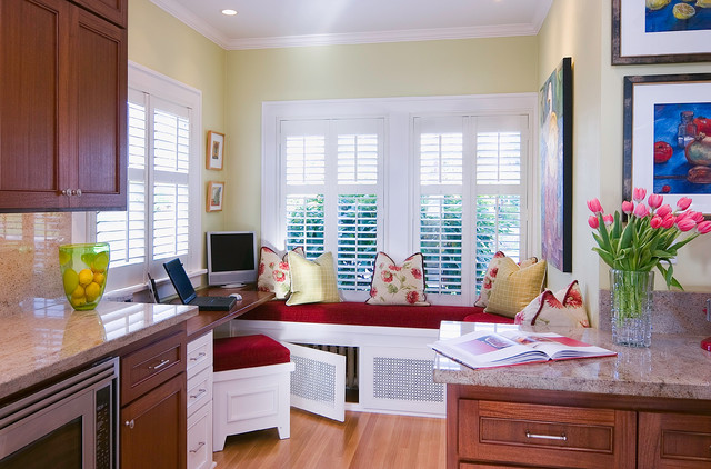 Home Depot Window Coverings Kitchen Traditional with Desk Area Eating Area Granite Granite Counter Hiding Radiator