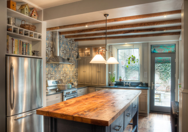 Honeywell True Hepa Air Purifier Kitchen Traditional with Accent Tiles Blue Cabinets Butcher Block Countertops Ceiling Lighting