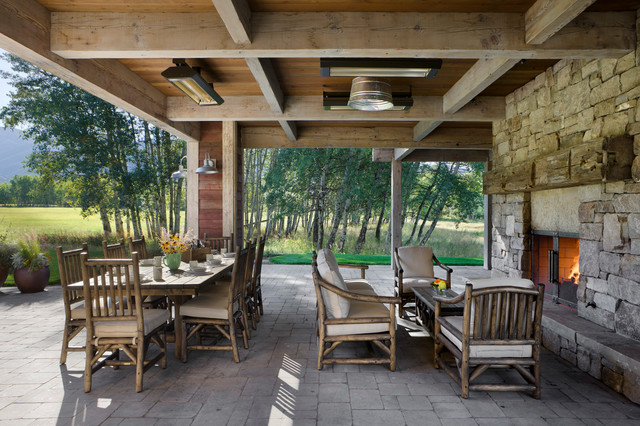 hooker furniture outlet patio farmhouse with coffered ceiling fireplace log furniture outdoor dining furniture patio - Hooker Furniture Outlet