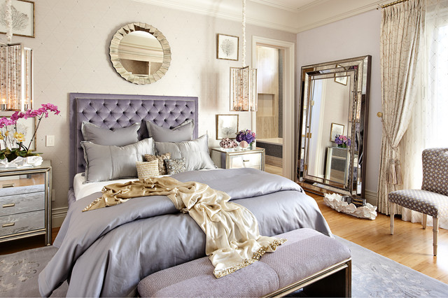 hooker furniture reviews Bedroom Eclectic with crown molding feminine mirror pendant light purple round mirror