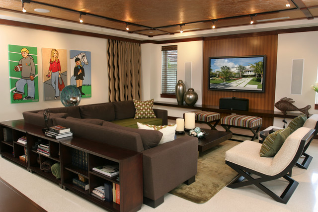 Hooker Furniture Reviews Family Room Contemporary with Beige Armchair Brown Sectional Brown Sofa Colorful Artwork Copper