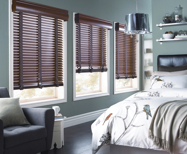 horizontal blinds Bedroom Contemporary with blinds curtains drapery drapes horizontal blinds roman shades shades